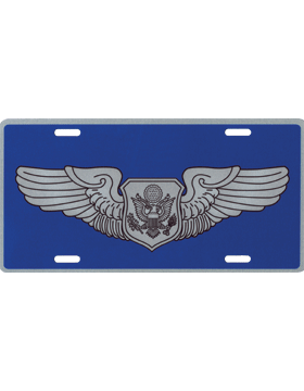 License Plate, Silver, USAF Non-Rated Aircrew on Blue