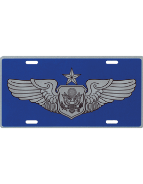 License Plate, Silver, USAF Sr Non-Rated Aircrew on Blue