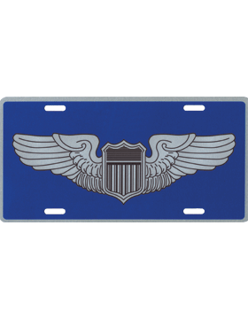 License Plate, Silver, USAF Pilot Wings on Blue Background