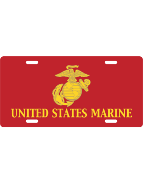 License Plate, Silver, United States Marine, Globe/Eagle, Yellow/Red