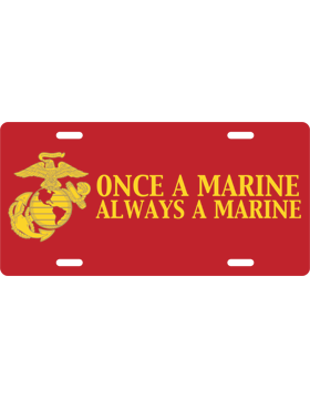License Plate, Silver, Once Marine - Always, Yellow on Red