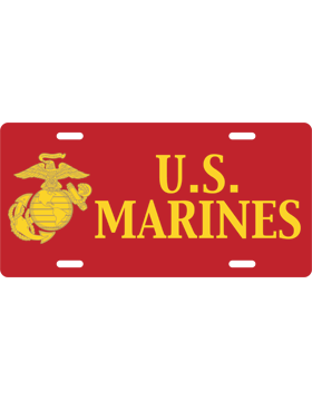 License Plate, Silver, U.S. Marines, Yellow on Red