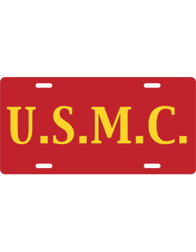 License Plate, Silver, U.S.M.C., Yellow on Red
