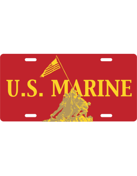 License Plate, Silver, U.S. Marines - Iwo Jima, Yellow on Red