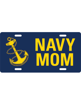 License Plate, Silver, Navy Mom with Anchor on Navy