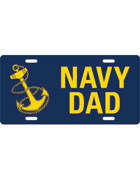 License Plate, Silver, Navy Dad with Anchor on Navy