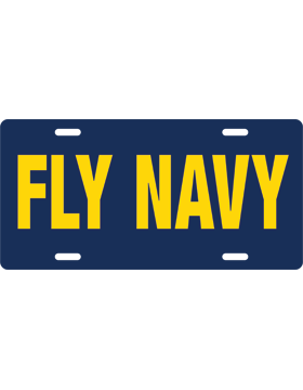 License Plate, Silver, Fly Navy, Gold on Navy