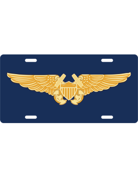License Plate, Silver, Flight Officer, Gold on Navy