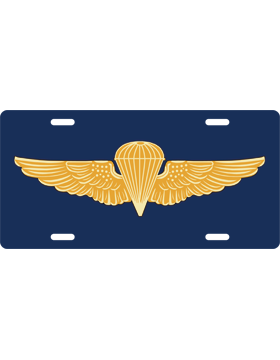 License Plate, Silver, M.C. Parachutist, Gold on Navy