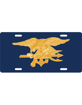 License Plate, Silver, Navy Seal Trident, Gold on Navy