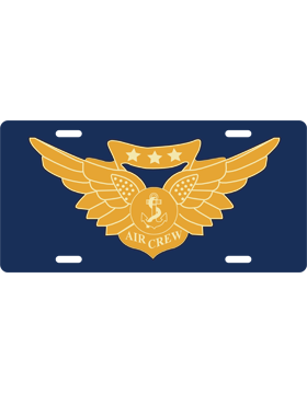License Plate, Silver, Combat Aircrew, Gold on Navy