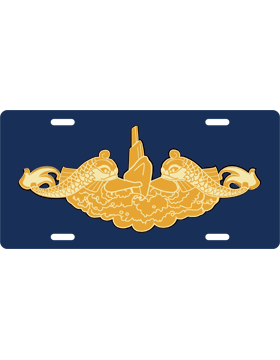 License Plate, Silver, Submarine Officer, Gold on Navy