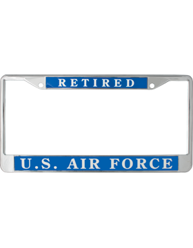 License Plate Frame, LPF-AF-103, Retired, US Air Force on Blue