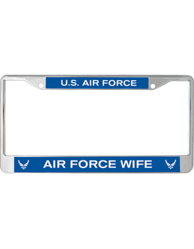 License Plate Frame, LPF-AF-104, Air Force Wife, US Air Force on Blue