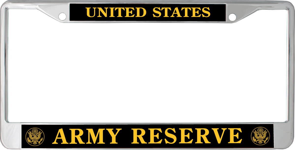 License Plate Frame United States Army Reserve Gold Black