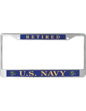 License Plate Frame, LPF-NY-101, Retired, US Navy Gold on Navy Blue