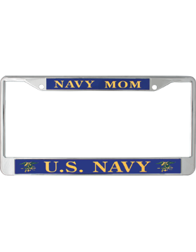 License Plate Frame, LPF-NY-104, Navy Mom, US Navy Gold on Navy Blue