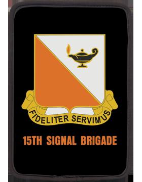 Kindle Sleeve 15th Signal Brigade Crest on Black 1 Sided
