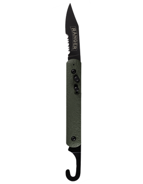 Olive Drab with Black Oxide Components and Clip Serrated Clam Shell