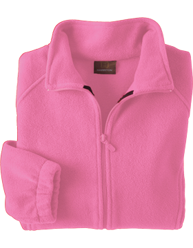 Harriton Ladies Full-Zip Fleece M990W Charity Pink