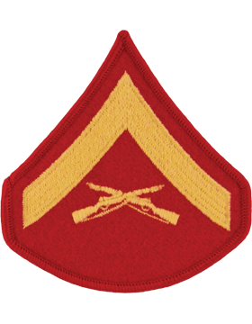 Gold/Red Female Chevron (102) Lance Corporal USMC (Pair)
