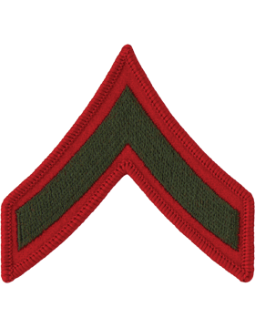 Green/Red Female Chevron (201) Private First Class USMC (Pair)