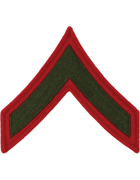 Green/Red Male Chevron (201) Private First Class USMC (Pair)