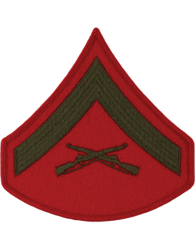 Green/Red Male Chevron (202) Lance Corporal USMC (Pair)