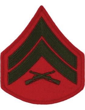 Green/Red Female Chevron (203) Corporal USMC (Pair)