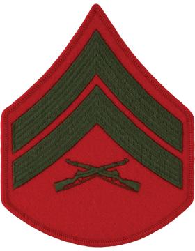 Green/Red Male Chevron (203) Corporal USMC (Pair)