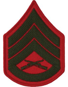Green/Red Female Chevron (205) Staff Sergeant USMC (Pair)