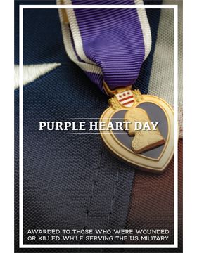 Military Holiday Poster Purple Heart Day