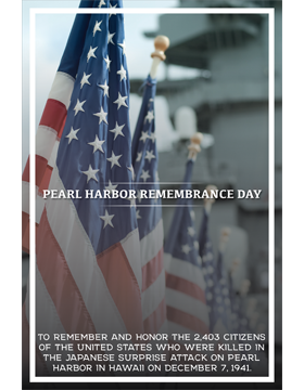 Military Holiday Poster Pearl Harbor Remembrance Day