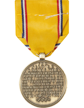 American Defense Full Size Medal (Pin Back) small