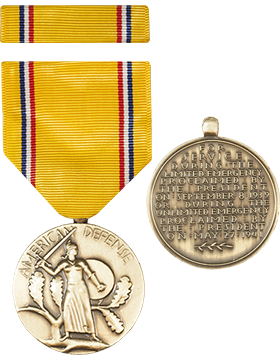 American Defense Full Size Medal with Ribbon