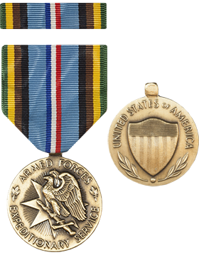 Armed Forces Expeditionary Service Full Size Medal with Ribbon