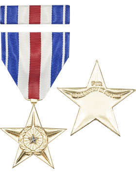 Silver Star Full Size Medal with Ribbon