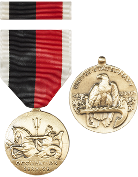 World War II Navy Occupation Full Size Medal with Ribbon