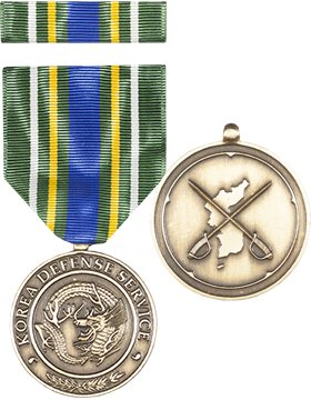Korean Defense Service Full Size Medal with Ribbon