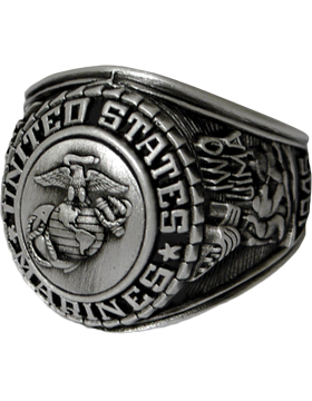 US Marine Corps Ring Style 22 Silver Antique Finish