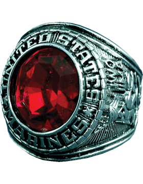 US Marine Corps Ring Style 23 Rhodium Plated
