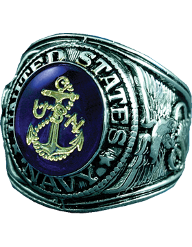 US Navy Ring Style 15 Rhodium Plated