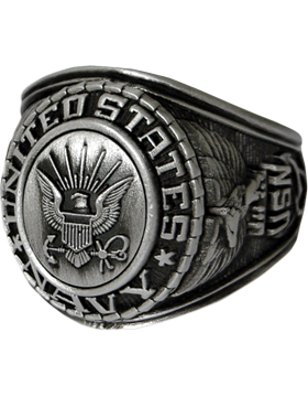 US Navy Ring Style 22 Silver Antique Finish