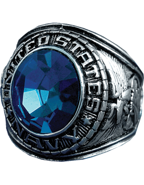 US Navy Ring Style 23 Rhodium Plated