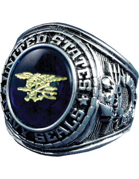US Navy Seal Ring Style 15 Rhodium Plated