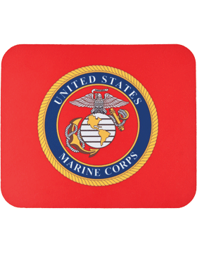 Mouse Pad, USMC Emblem on Red, 1/4in Poly