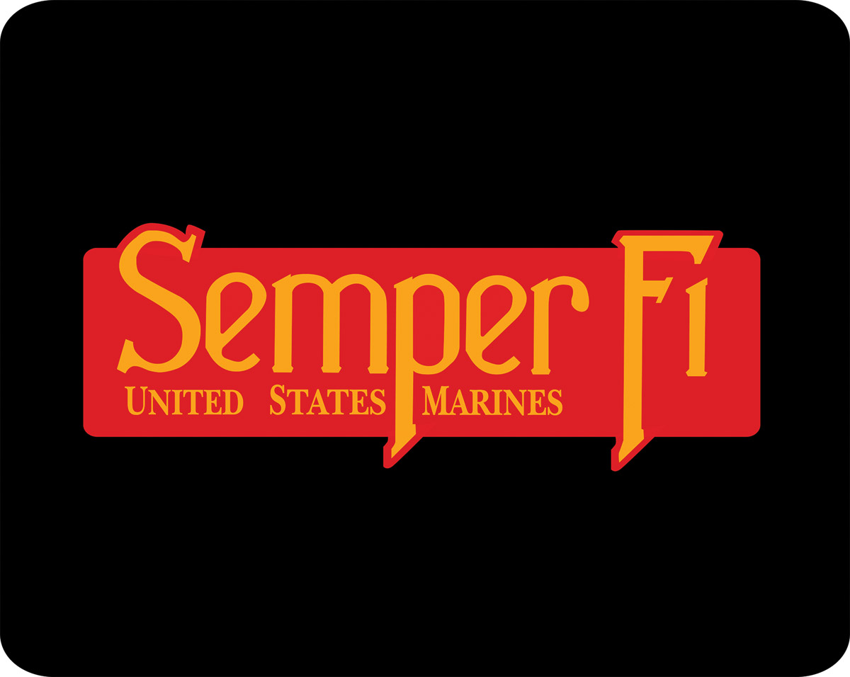 Mouse Pad, USMC Em. Semper Fi Red/Yellow on Blk, 1/8in Poly
