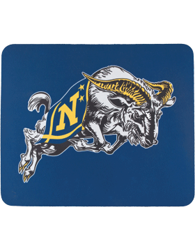 Mouse Pad, Jumping Goat with inNin on Navy, 1/8in Poly