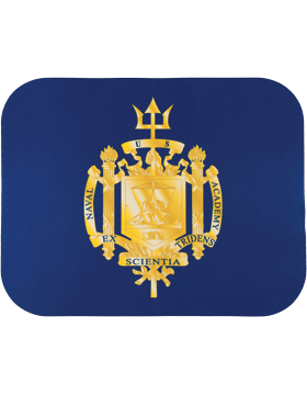 Mouse Pad, US Naval Academy Shield on Navy, 1/8in Glossy