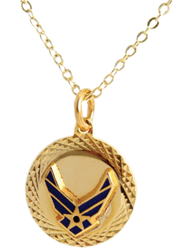 US Air Force Pendant Necklace Style 13G Gold Diamond Cut